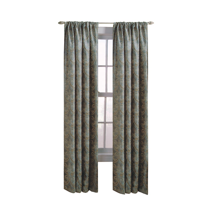 allen + roth Raja 95-in Steel Polyester Back Tab Light Filtering Standard Lined Single Curtain Panel