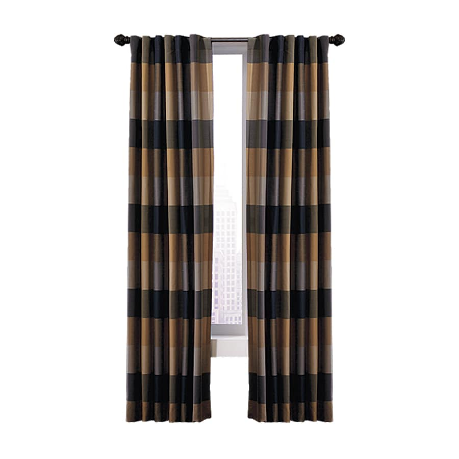allen + roth Emilia 63-in Onyx Polyester Back Tab Light Filtering Standard Lined Single Curtain Panel