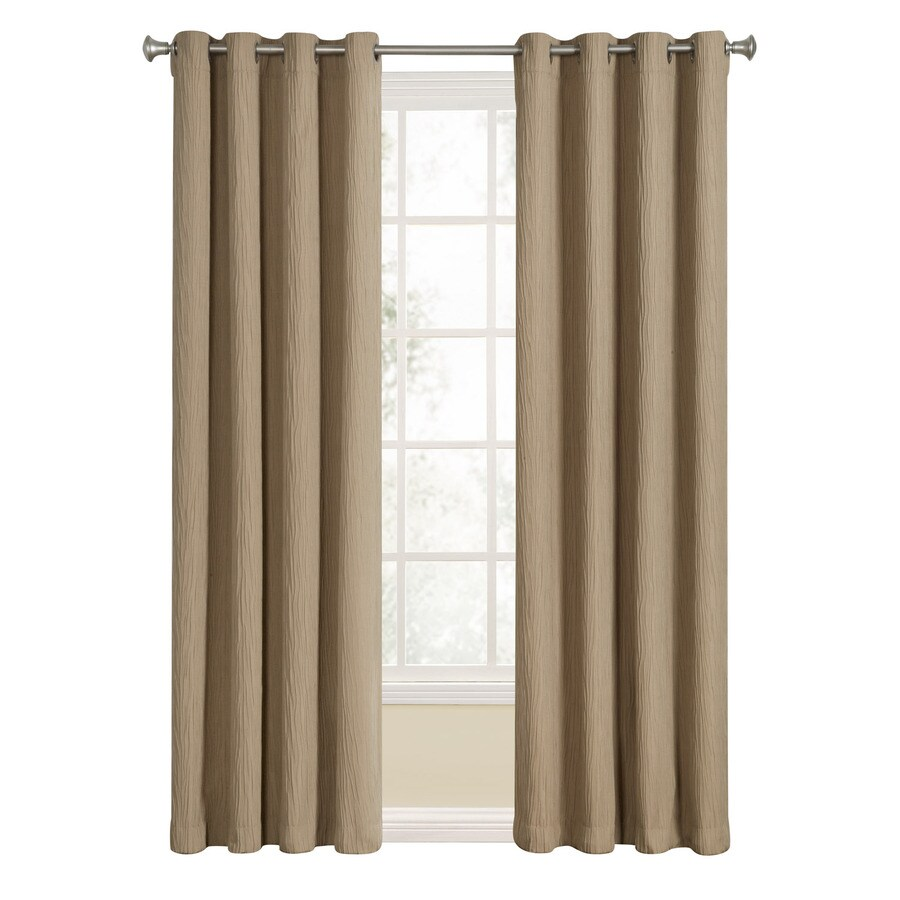allen + roth Aberleigh 84-in Camel Polyester Grommet Light Filtering Single Curtain Panel