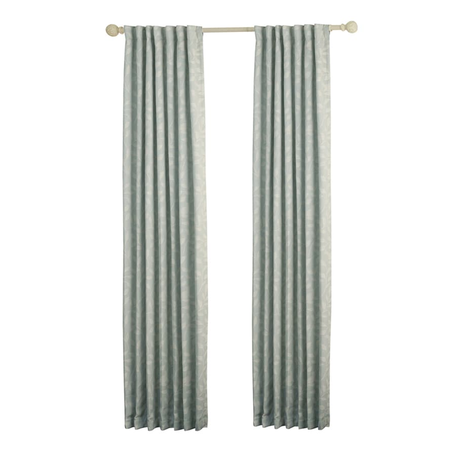 allen + roth Carronbridge 95-in Sky Polyester Back Tab Room Darkening Standard Lined Single Curtain Panel