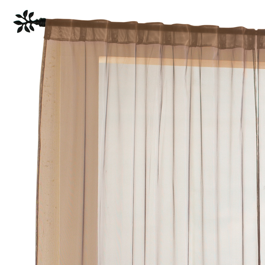 Solaris Mesh Sheer 96-in Khaki Polyester Back Tab Sheer Single Curtain Panel