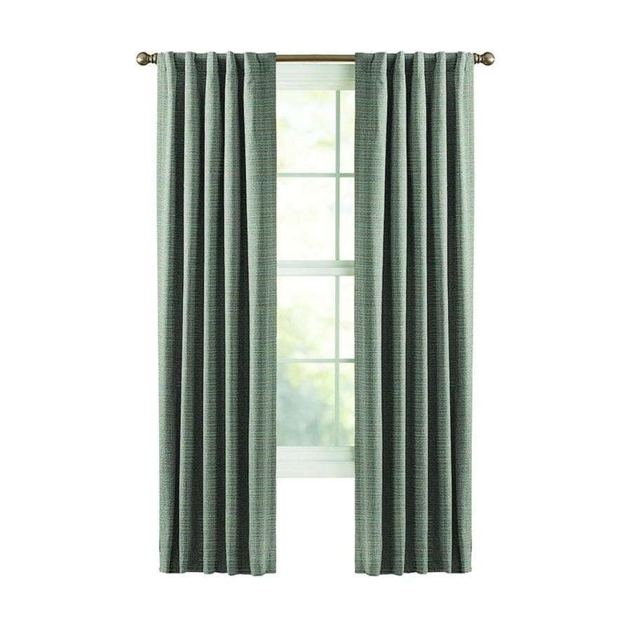 Style Selections Roberta 84-in Blue Polyester Back Tab Room Darkening Thermal Lined Single Curtain Panel