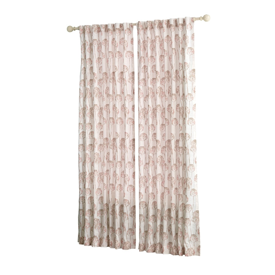 allen + roth Wintondale 63-in Coral Cotton Back Tab Light Filtering Single Curtain Panel