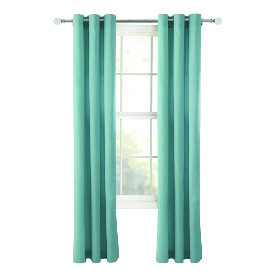 Style Selections Bernard 84-in Blue Cotton Grommet Light Filtering Single Curtain Panel