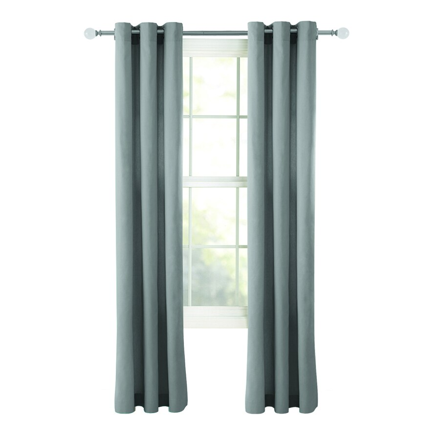 Style Selections Bernard 84-in Grey Polyester Grommet Light Filtering Single Curtain Panel