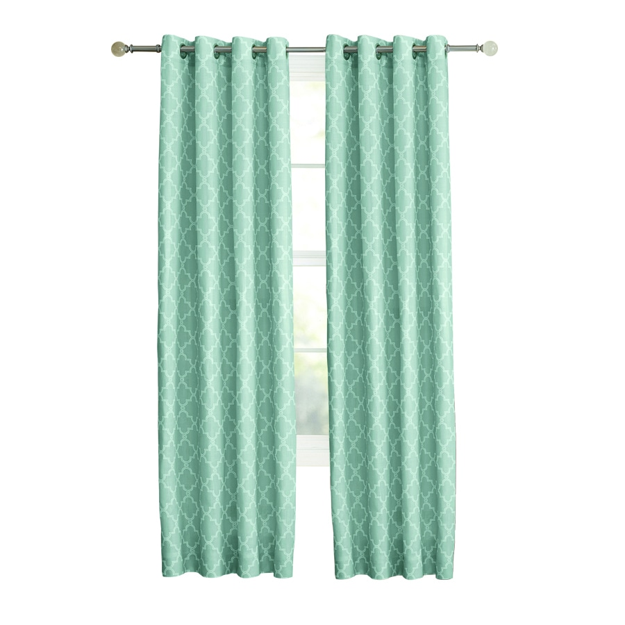 allen + roth Selwick 63-in Blue Polyester Grommet Light Filtering Single Curtain Panel