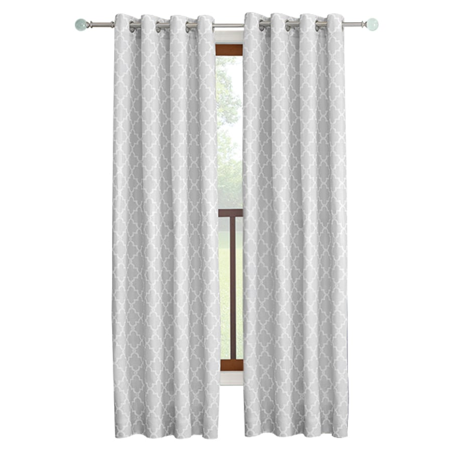 allen + roth Selwick 84-in Grey Polyester Grommet Light Filtering Single Curtain Panel