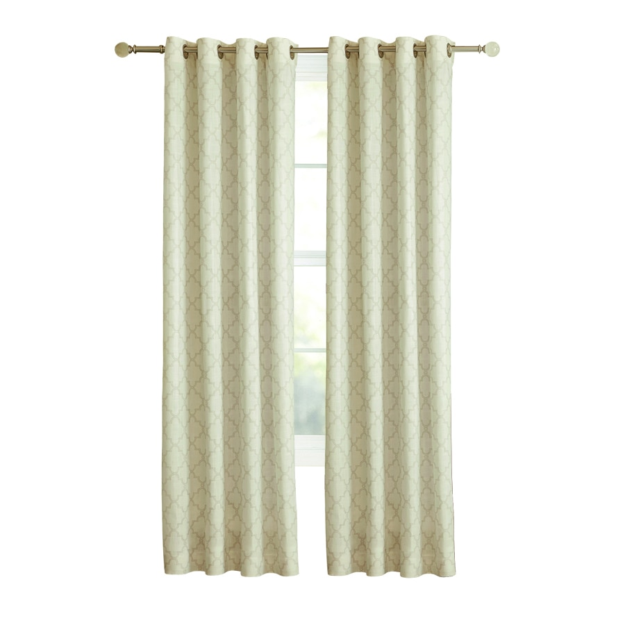 allen + roth Selwick 84-in Neutral Polyester Grommet Light Filtering Single Curtain Panel