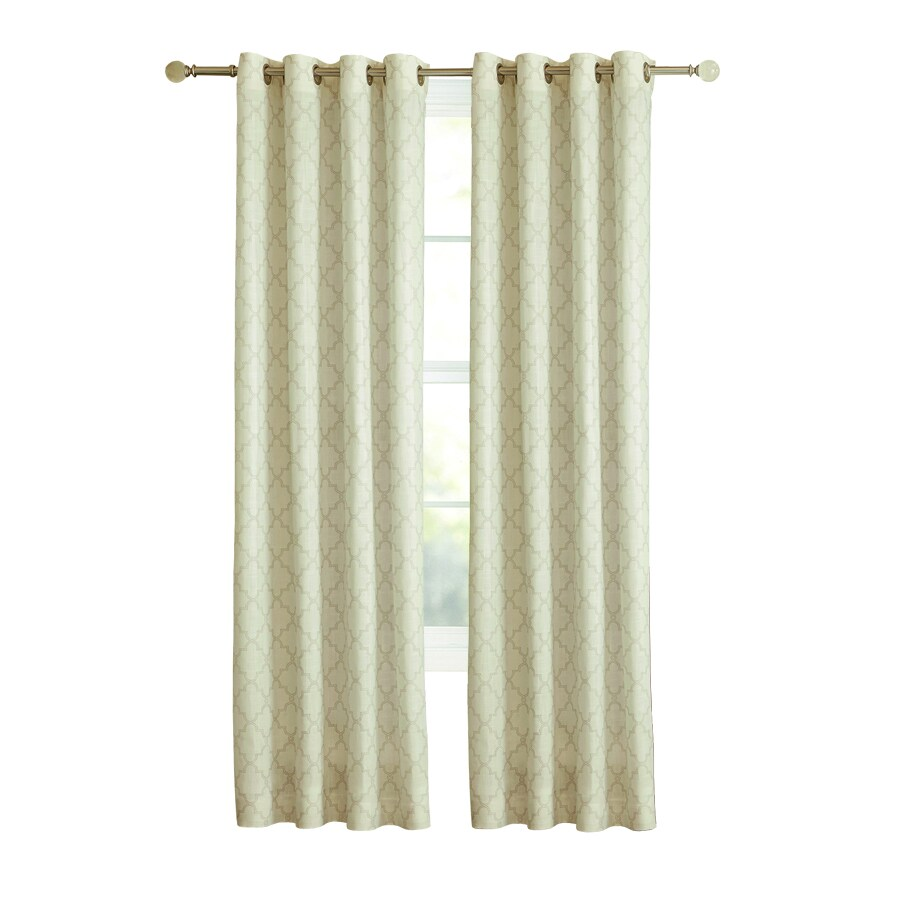 allen + roth Selwick 95-in Neutral Polyester Grommet Light Filtering Single Curtain Panel