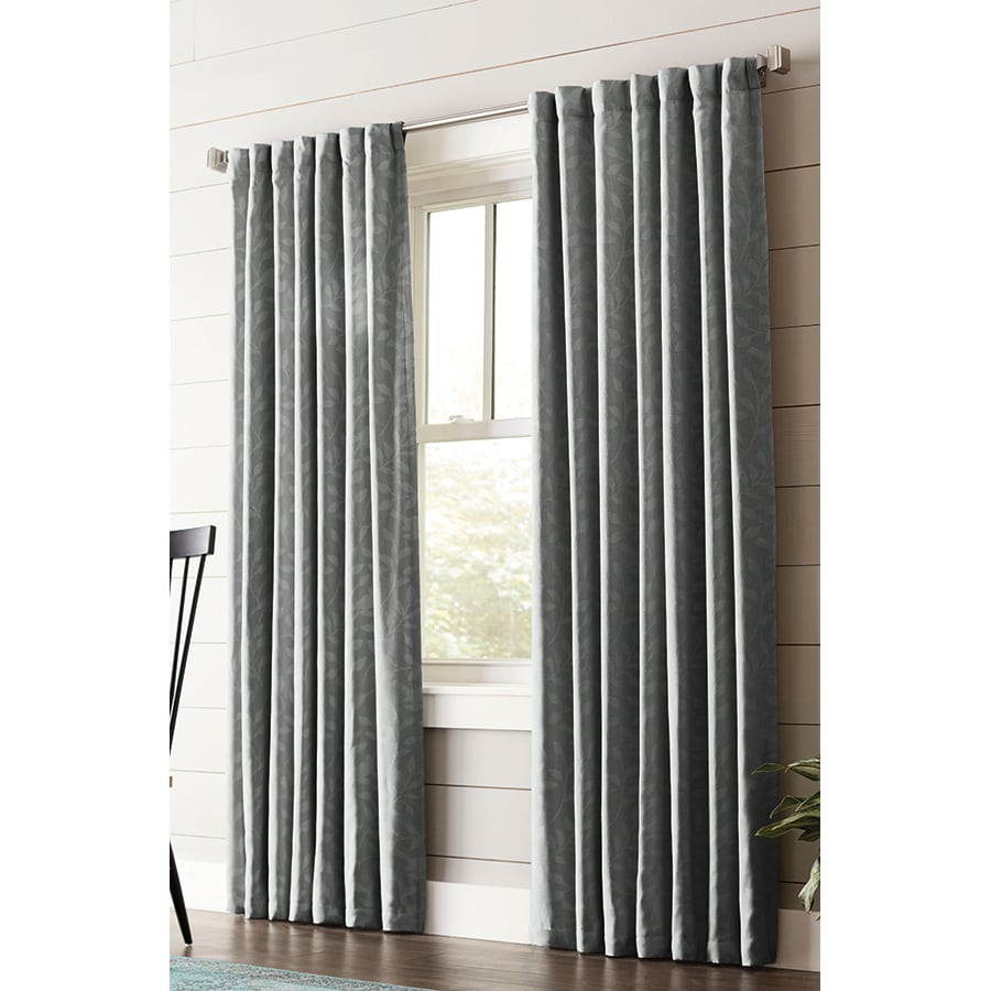 allen + roth Carronbridge 63-in Dark Gray Polyester Back Tab Room Darkening Interlined Single Curtain Panel