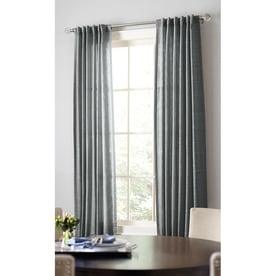 allen + roth Evington 84-in Dark Gray Cotton Back Tab Light Filtering Single Curtain Panel