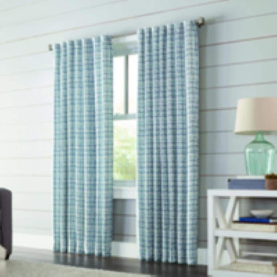 allen + roth Nelliston 63-in Indigo Polyester Back Tab Light Filtering Standard Lined Single Curtain Panel