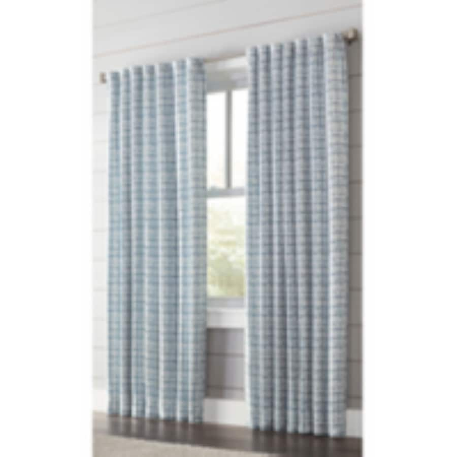 allen + roth Nelliston 84-in Indigo Polyester Back Tab Light Filtering Standard Lined Single Curtain Panel