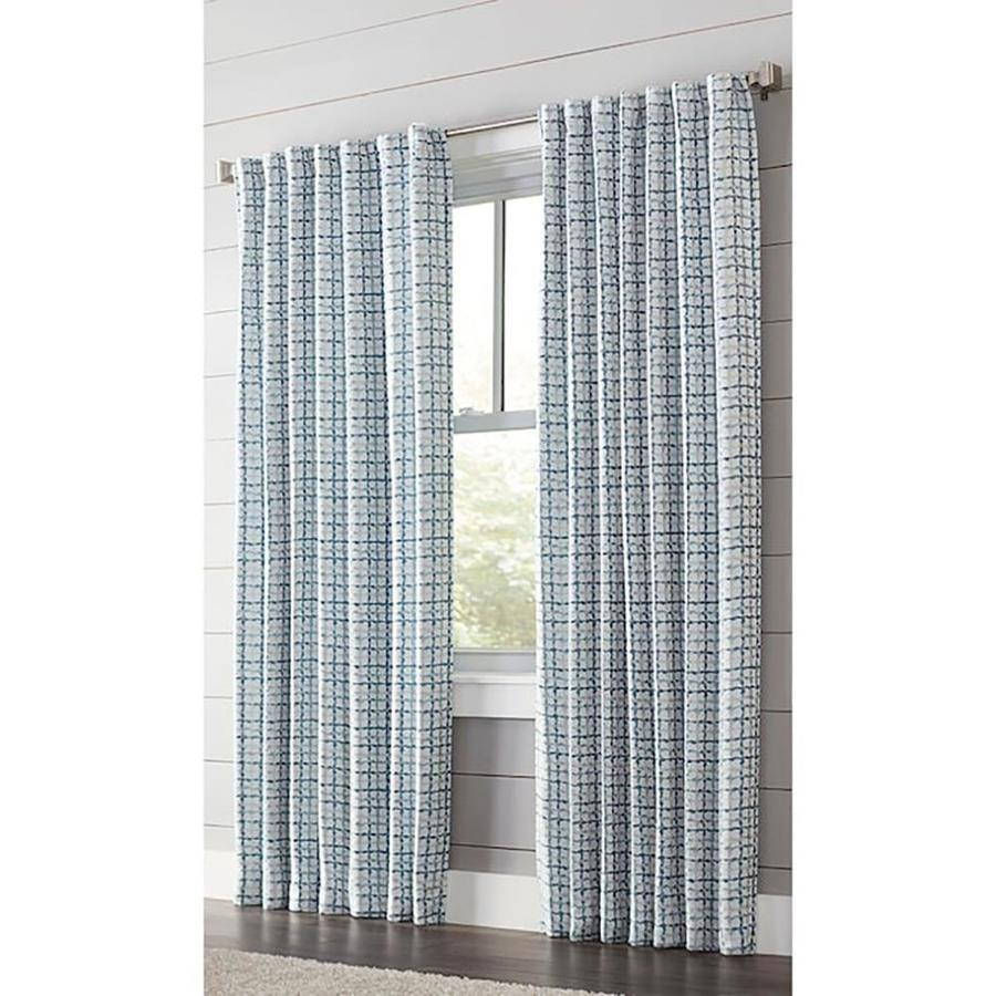 allen + roth Nelliston 95-in Indigo Polyester Back Tab Light Filtering Standard Lined Single Curtain Panel
