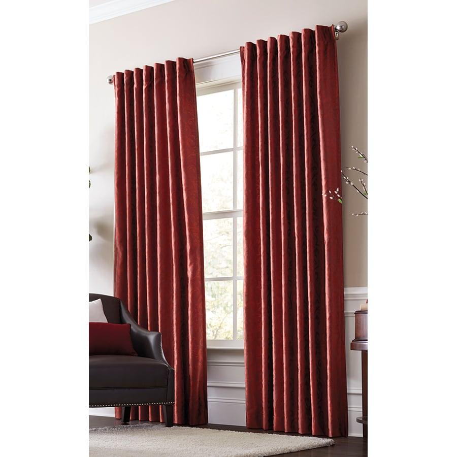 allen + roth Volney 63-in Spice Polyester Back Tab Light Filtering Standard Lined Single Curtain Panel