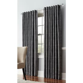 allen + roth Volney 84-in Pewter Polyester Light Filtering Standard Lined Single Curtain Panel