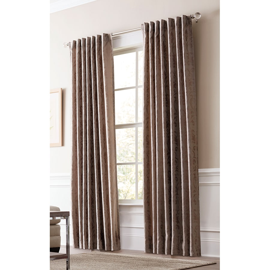 allen + roth Volney 95-in Taupe Polyester Back Tab Light Filtering Standard Lined Single Curtain Panel