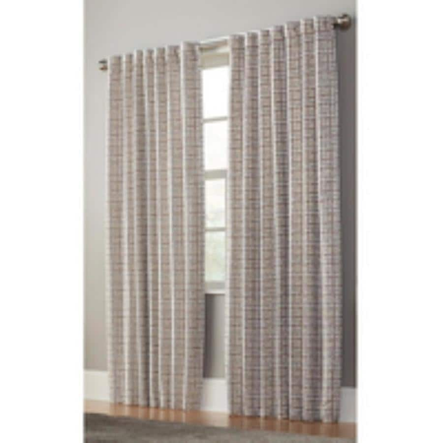 allen + roth Nelliston 63-in Taupe Polyester Back Tab Light Filtering Standard Lined Single Curtain Panel