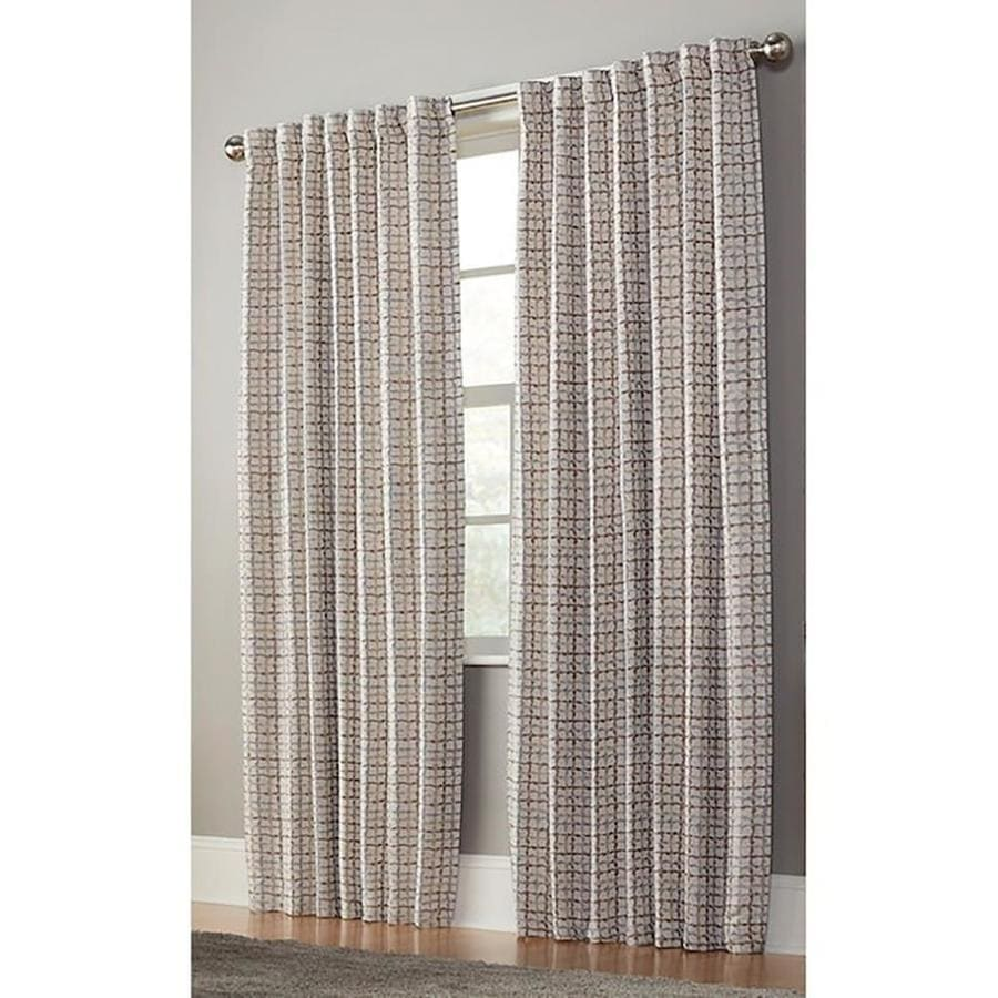 allen + roth Nelliston 95-in Taupe Polyester Back Tab Light Filtering Standard Lined Single Curtain Panel