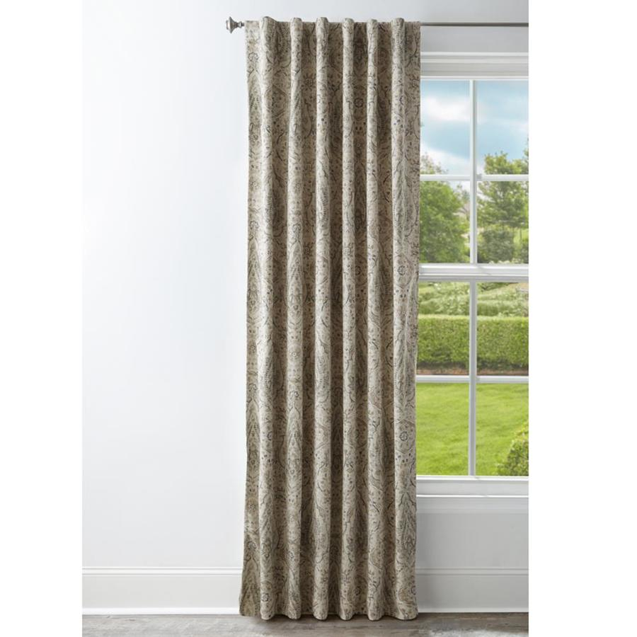 Style Selections 84 In Grey Polyester Room Darkening Standard Lined Back Tab Single Curtain Panel In The Curtains Drapes Department At Lowes Com
