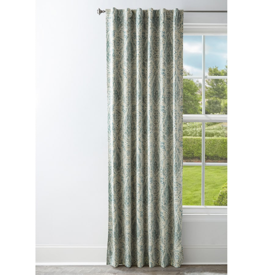Style Selections 95-in Mineral Polyester Back Tab Room Darkening Standard Lined Single Curtain Panel