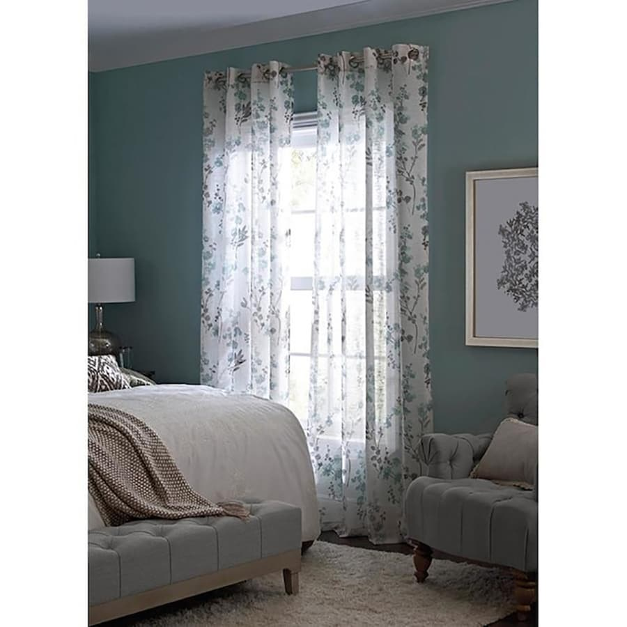Allen Roth Candian 95 In Blue Polyester Grommet Semi Sheer Single Curtain Panel