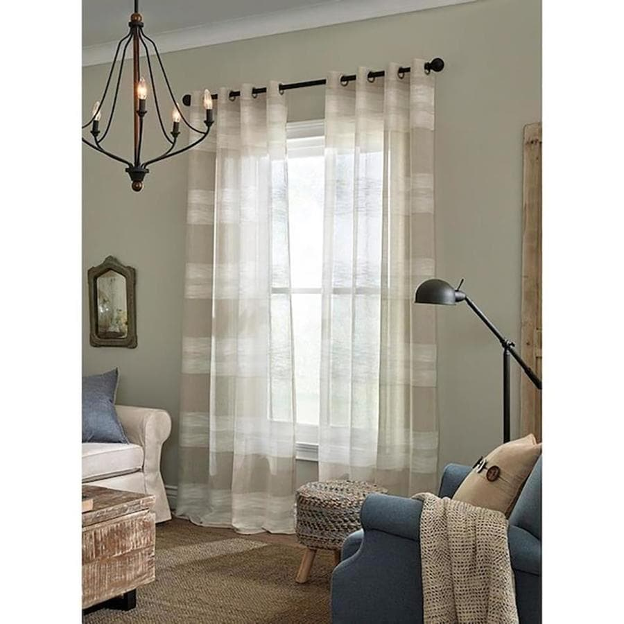 Allen + Roth Palma 63-in Tan Polyester Semi-sheer Single