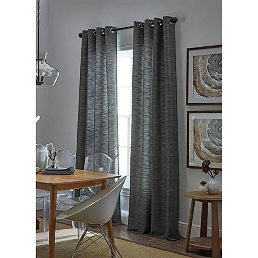Allen + Roth Bendhal 63 In Gray Polyester Grommet Light Filtering Standard  Lined Single Curtain