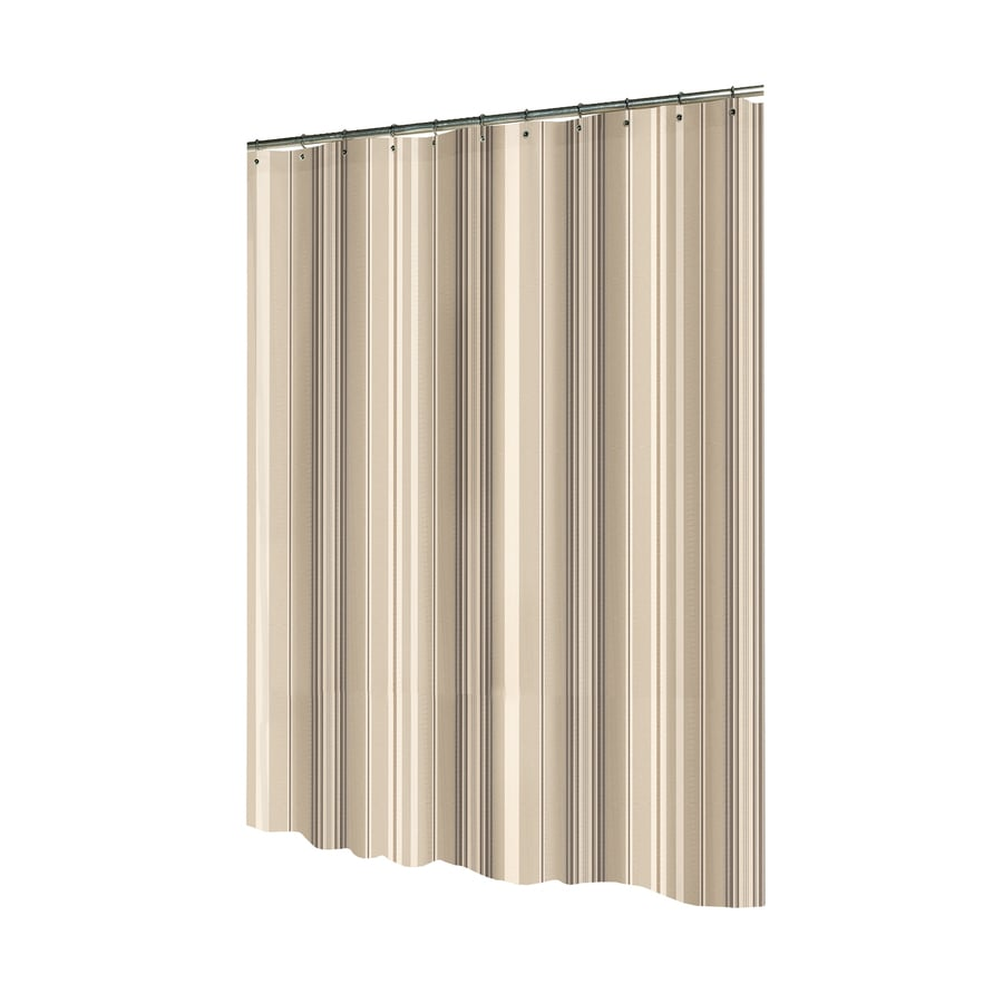 allen + roth Polyester Brown/Tan Striped Shower Curtain