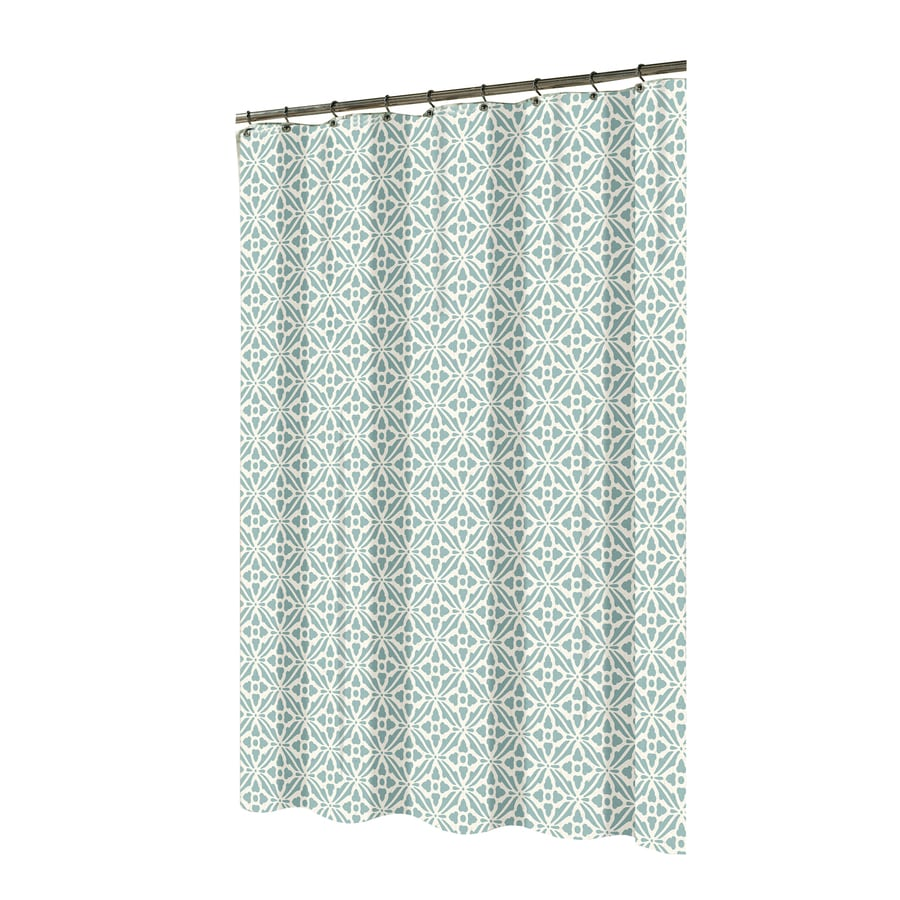 shop allen  roth polyester aqua patterned shower curtain at lowescom - allen  roth polyester aqua patterned shower curtain