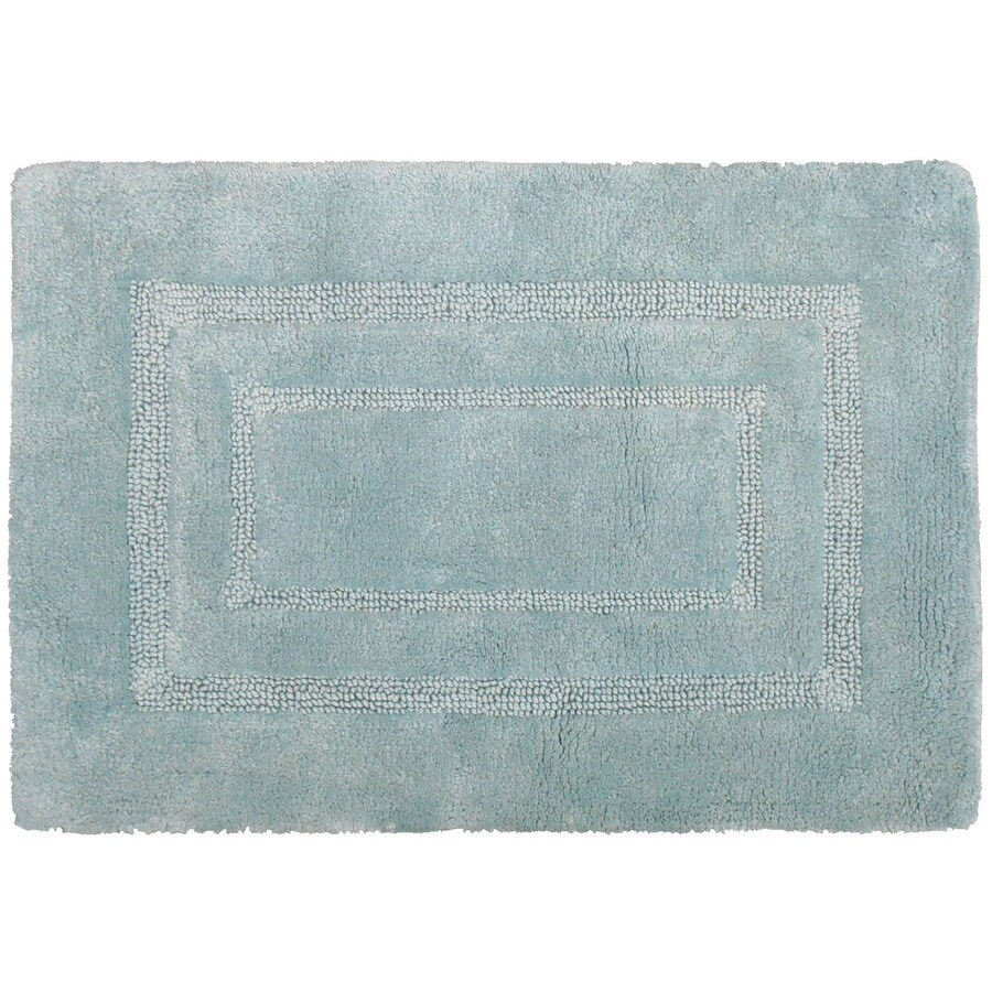 allen + roth 17-in x 24-in Teal Cotton Bath Rug