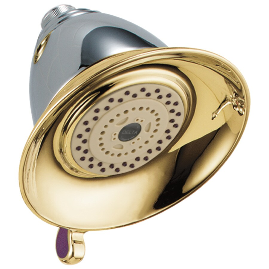 Delta Victorian 5-in 2.5-GPM (9.5-LPM) Chrome and Polished Brass 2-Spray Showerhead