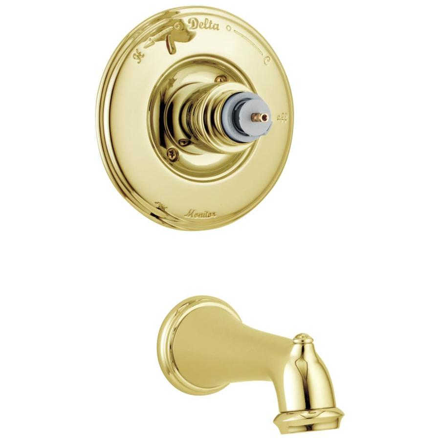 Shop Delta Victorian Polished Brass 1 Handle Wall Mount Bathtub Faucet At Low