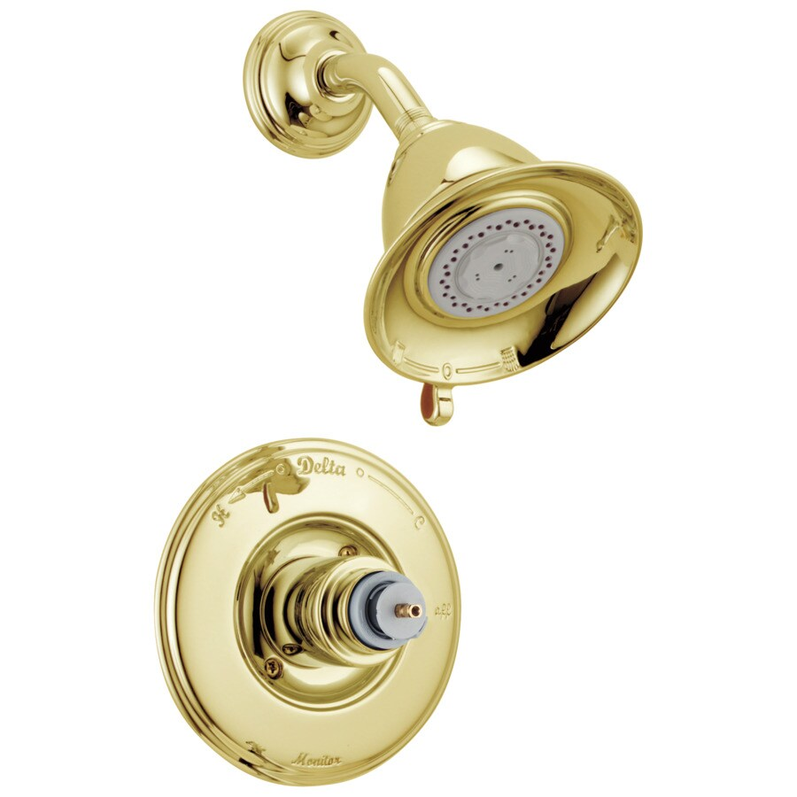 Delta Victorian Polished Brass 1-Handle Shower Faucet Trim Kit with Multi-Function Showerhead