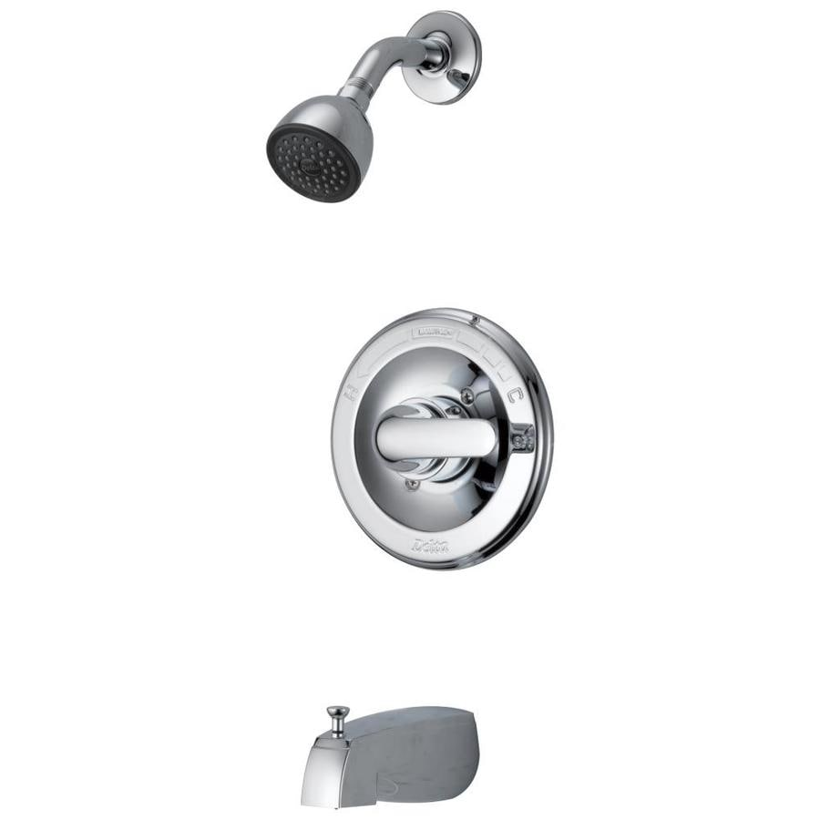 Shop Delta Chrome 1-Handle Bathtub and Shower Faucet with Valve at ...