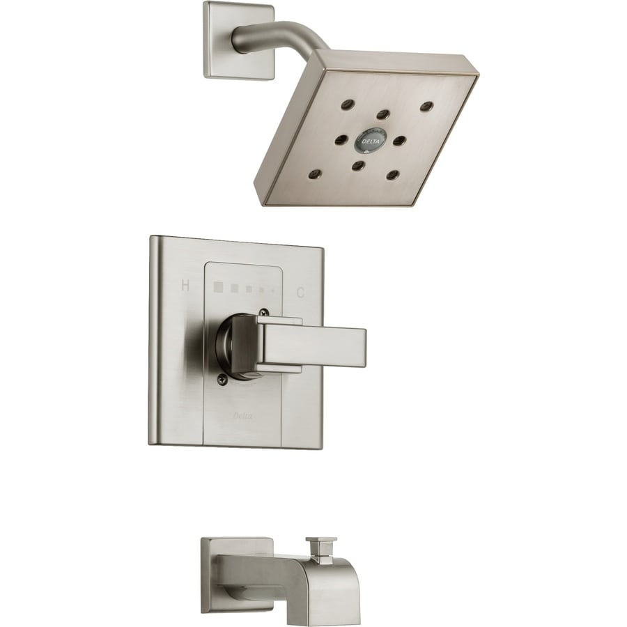 Delta Arzo Stainless 1-Handle Bathtub and Shower Faucet Trim Kit with Rain Showerhead