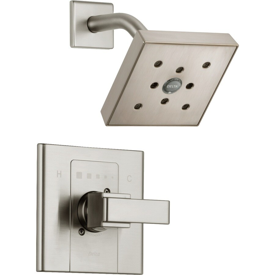 Shop Delta Arzo Stainless 1 Handle Shower Faucet Trim Kit With Rain Showerhead At