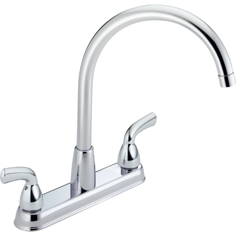 Shop Peerless Chrome 2-handle High-arc Deck Mount Kitchen Faucet at ...