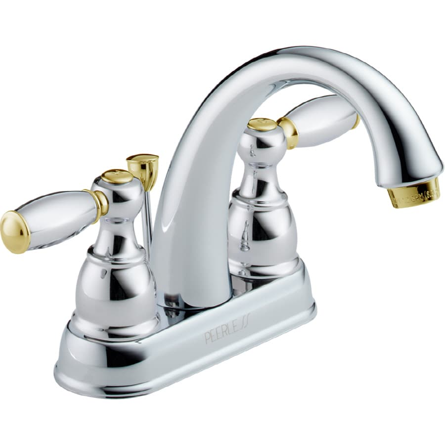 Shop Peerless Chrome Brass 2 Handle 4 In Centerset Bathroom Faucet Drain Included At
