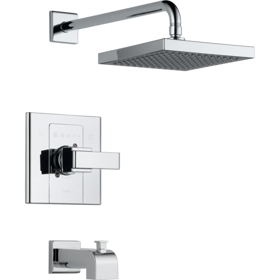 Delta Arzo Chrome 1-Handle Bathtub and Shower Faucet Trim Kit with Rain Showerhead