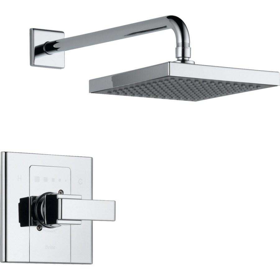 Delta Arzo Chrome 1-Handle Shower Faucet Trim Kit with Rain Showerhead