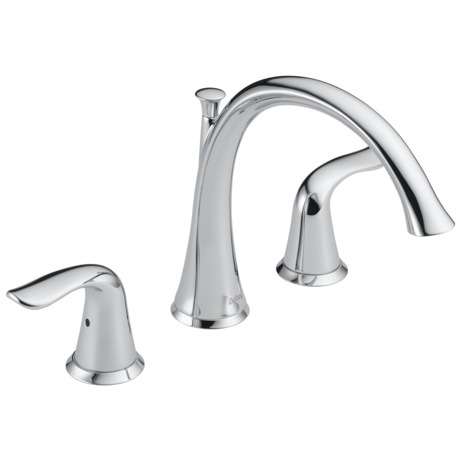 Delta Lahara Chrome 2-Handle Adjustable Deck Mount Bathtub Faucet