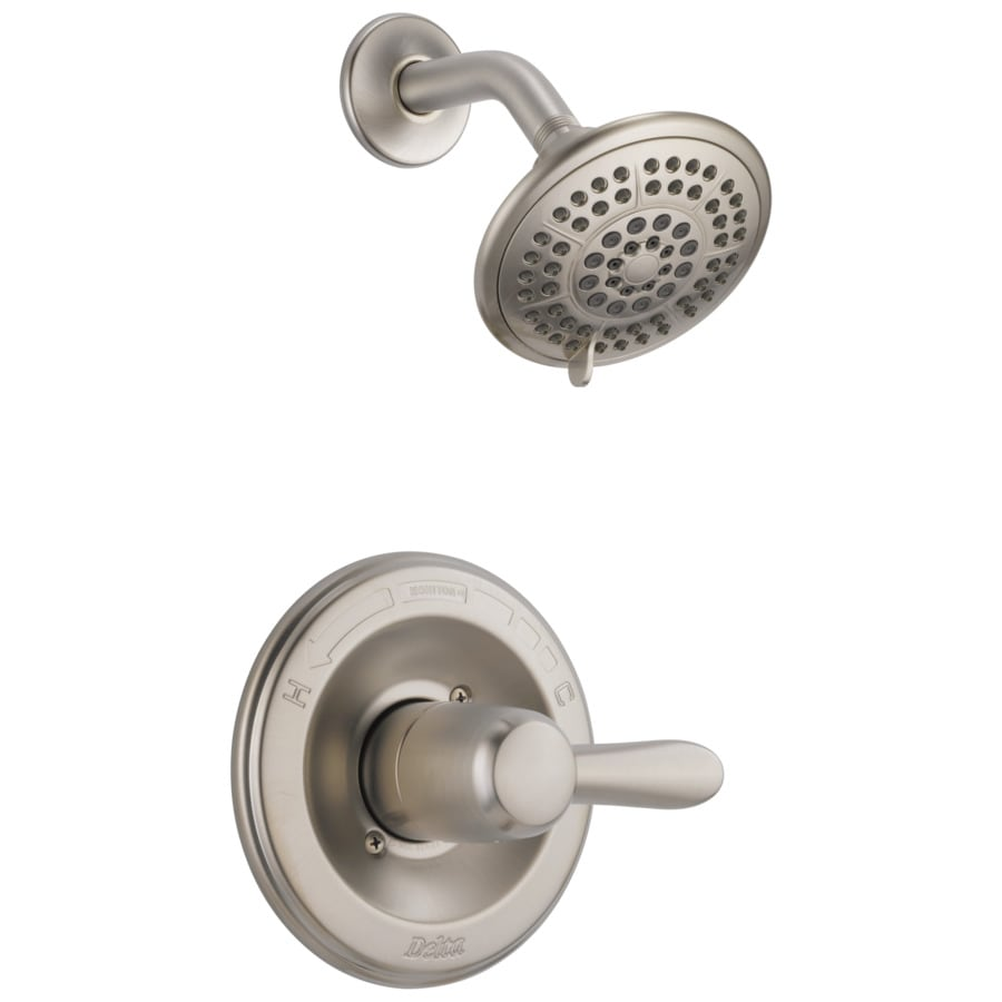 delta lahara stainless 1 handle watersense shower faucet trim kit with