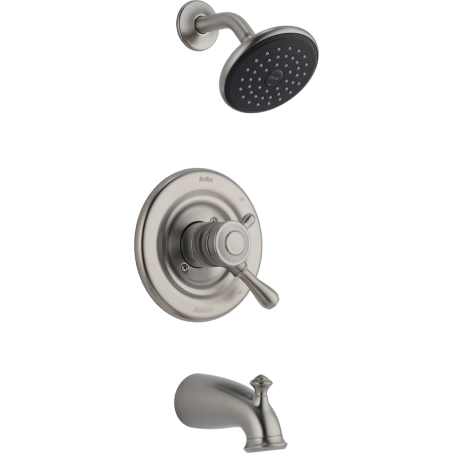 Delta Leland Stainless 1-Handle Bathtub and Shower Faucet Trim Kit with Rain Showerhead
