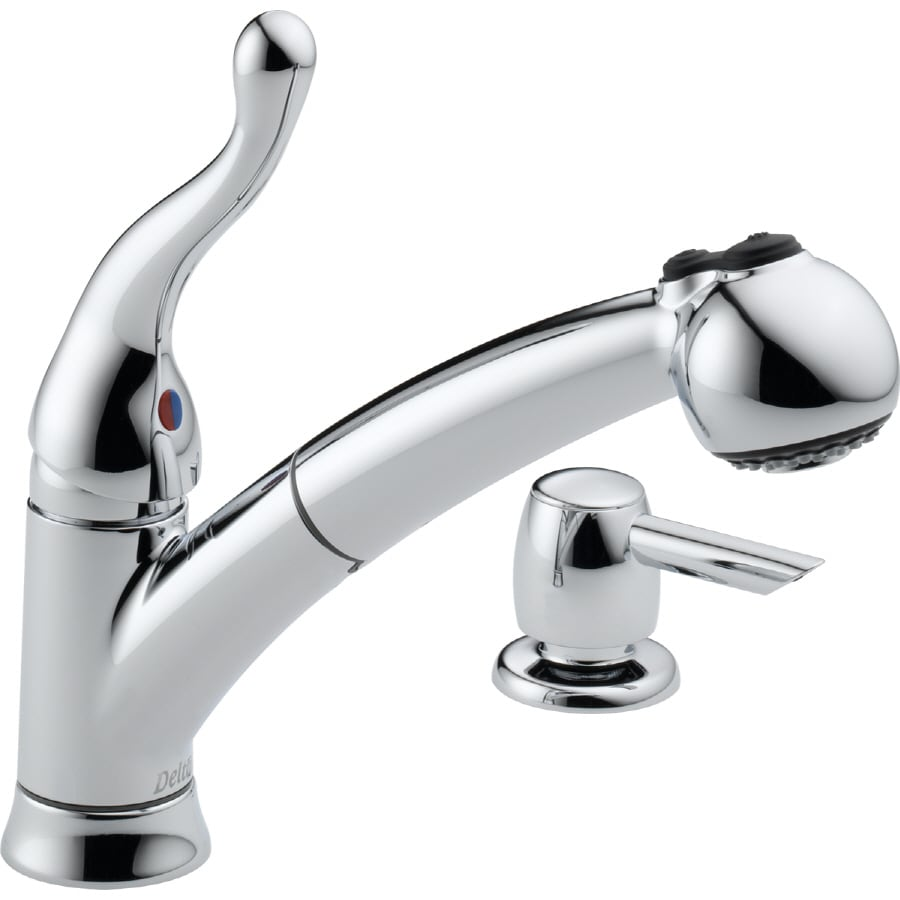 Delta Chrome Kitchen Faucets Shop Delta Talbott Chrome 1 Handle Pull Out Kitchen Faucet At