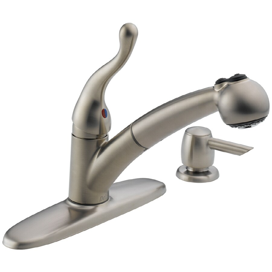 Shop Delta Talbott Stainless 1-Handle Pull-Out Kitchen Faucet at ...