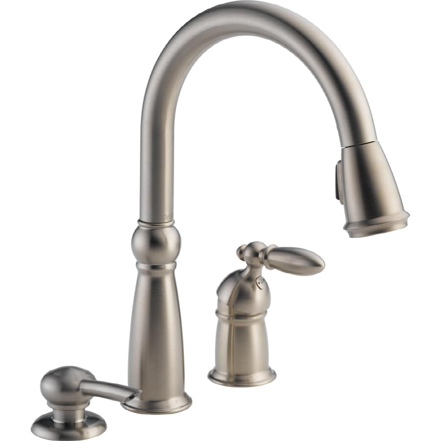 Delta Victorian Stainless 1 Handle Deck Mount Pull Down Kitchen Faucet