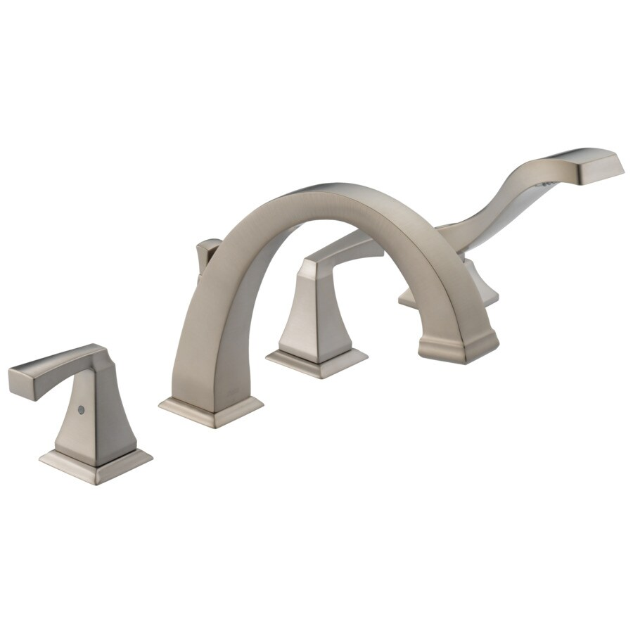 Delta Dryden Stainless 2-Handle Adjustable Deck Mount Bathtub Faucet