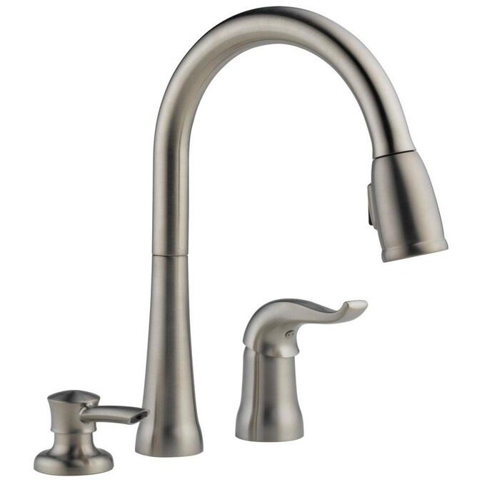 Delta Kate Stainless 1 Handle Deck Mount Pull Down Handle Kitchen Faucet In The Kitchen Faucets Department At Lowes Com