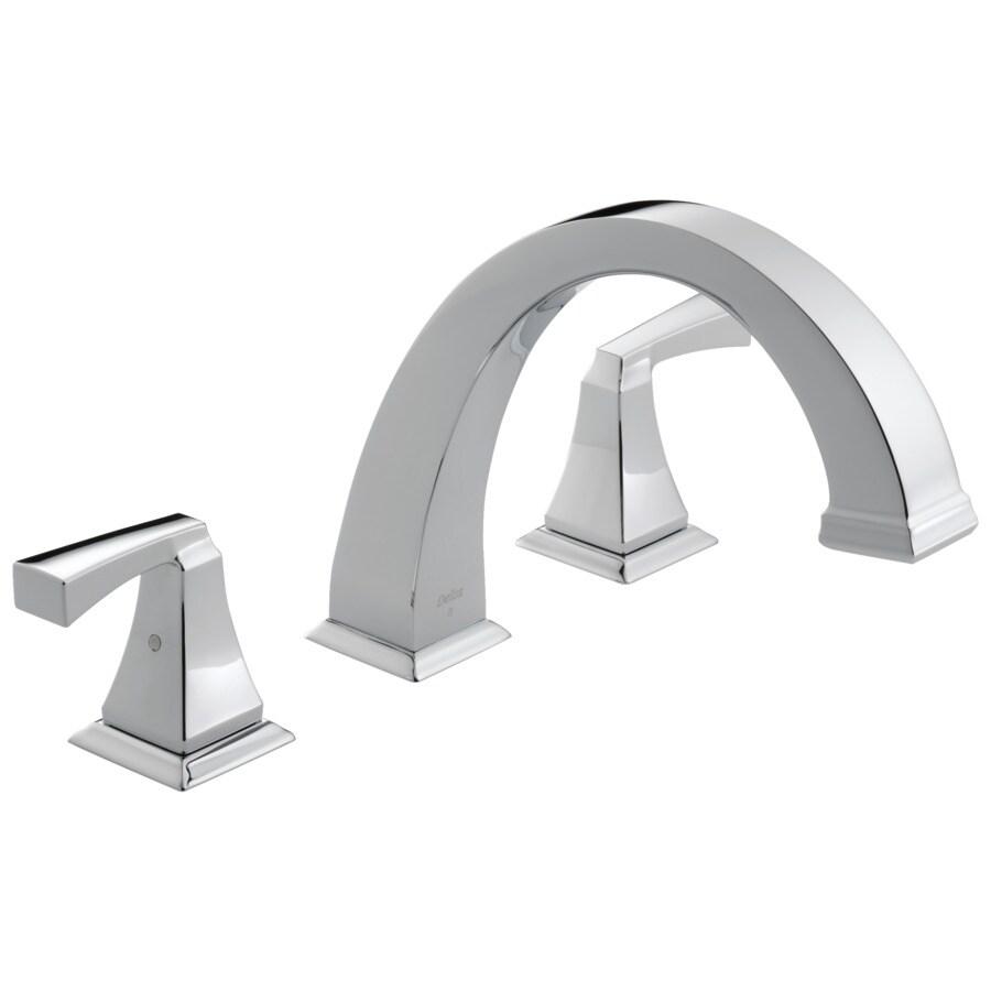 Delta Dryden Chrome 2-Handle Adjustable Deck Mount Bathtub Faucet